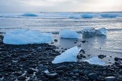 Ice on the beach in Iceland Stock Photos