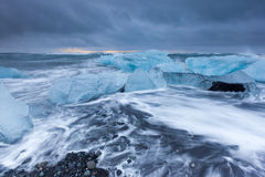 Ice beach at jokulsarlon beach at sunrise, Iceland. Royalty Free Stock Photo