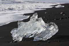Ice Beach at Jokulsarlon glacier lagoon in Iceland Stock Photos