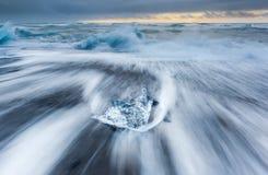 Ice beach at jokulsarlon, Iceland. Royalty Free Stock Photography
