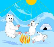 Ice bear cubs with mother by bonfire. Ice bears by igloo. Ice bear sitting. royalty free stock images