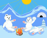 Ice bear cubs with mother by bonfire. Ice bears by igloo. Ice bear sitting. stock image