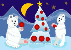 Ice bear cubs preparing christmas tree with red baubles. Christmas card illustration for children. Stock Image