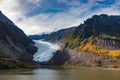 Ice of Bear Glacier Provincial Park BC Canada. Ice tongue and autumn fall colors in Bear Glacier Provincial Park, British Columbia, BC, Canada, off Highway 37A royalty free stock photo