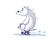 Ice-bear on sled. Sliding on snow stock illustration
