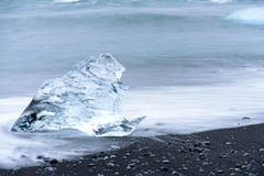 Ice on the black beach of Jokulsarlon, Iceland Royalty Free Stock Photography