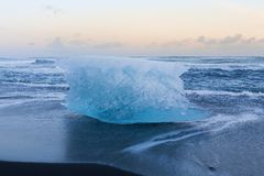Ice on black sand beach skyline, Iceland Stock Photo