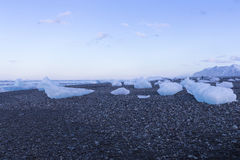 Ice on black sand and small rock beach, Iceland. Natural landscape winter season background Stock Photos