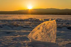 Ice block on lake Baikal, Siberia,Russia. Stock Photo