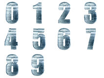 Ice block numbers isolated. Iced numbers isolated with clipping path Stock Photos