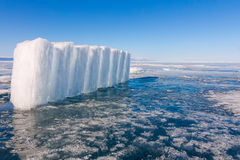Ice blocks on blue ice, Olkhon island, Lake Baikal Stock Photos