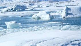Ice blocks break down at the glacier lagoon Jokulsarlon stock footage