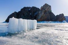 Ice blocks in Cape Khoboy, Olkhon island, Lake Baikal Royalty Free Stock Image