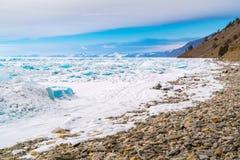 Ice blocks in frozen Lake Baikal Royalty Free Stock Images