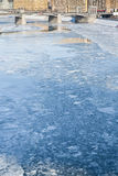 Ice blocks on frozen Moscow river Royalty Free Stock Photos