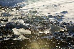 Ice blocks at glacier lagoon Jokulsarlon, Iceland in evening lig Stock Images