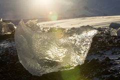 Ice blocks at glacier lagoon Jokulsarlon, Iceland in evening lig Stock Photo