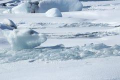 Ice blocks at glacier lagoon Jokulsarlon, Iceland Royalty Free Stock Photos