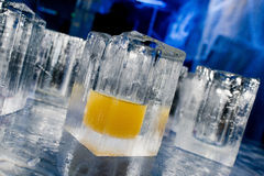 Ice blocks glasses in a ice hotel bar pub Royalty Free Stock Photos