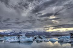 Ice blocks going to the ocean in Jokulsarlon in the south of Iceland Royalty Free Stock Photos