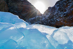 Ice Blocks In The Sun At Frozen Lake Baikal Stock Images