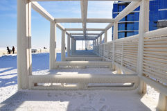 Ice blocks on a pier Stock Photo