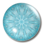 Ice Blue Button Orb. An illustration of an icy blue and white glass button with shadow Stock Photography