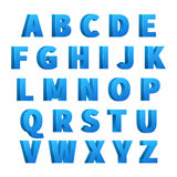 Ice blue 3d letters, characters, alphabet, lettering Royalty Free Stock Images