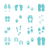 Ice Blue Footprints Set On White. Ice blue color footprints on white background set with imprints of various footwear and paws vector illustration Stock Photography