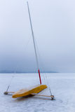 Ice boat on frozen lake Royalty Free Stock Photography