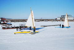 Ice Boat Racing Team Royalty Free Stock Photography