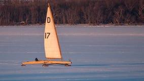 Ice Boat Sailing on Lake Pepin royalty free stock photo