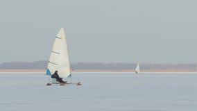 Ice-boat sailing Royalty Free Stock Photo