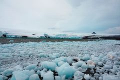Ice boulders broken off from Antarctic glacier royalty free stock image