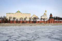 At Ice-bounded Moskva River with Background of Moscow Kremlin Royalty Free Stock Images