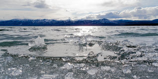 Ice-Break at Lake Laberge, Yukon Territory, Canada Stock Image