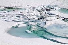 Ice break by the mountain lake Stock Photos