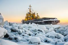 Ice breaker breaks ice Stock Image