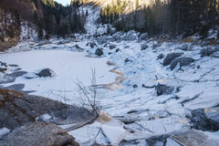 Ice breaking on Black lake. Trilav lakes, Julian Alps Royalty Free Stock Photos