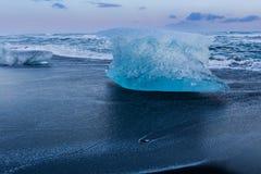 Ice breaking on black sand beach Stock Image