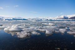 Ice breaking over Jakulsarlon winter lake Royalty Free Stock Photography