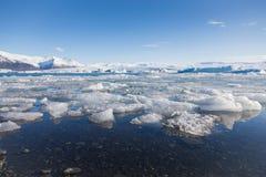 Ice breaking on winter lagoon, Iceland Stock Image