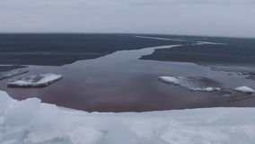 Ice breakup at sea stock video