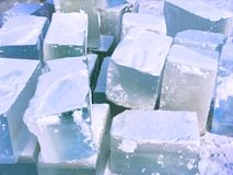 Ice bricks. Ice for construction of ice-house Stock Images