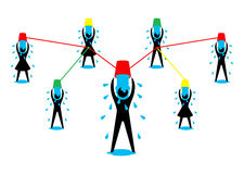 Ice Bucket Challenge. Als ice bucket challenge concept vector graphic in eps10 format with men women throwing ice water onto themselves stock illustration