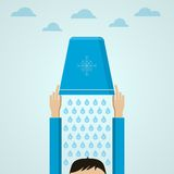Ice Bucket Challenge. Flat illustration. Stock Photography