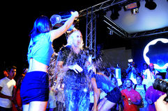 Ice Bucket Challenge - Night Club Party. Portuguese DJ Pete Tha Zouk doing the ALS Ice Bucket Challenge. August 2014 - Portuguese nightclub Bliss, Vilamoura royalty free stock image