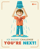 Ice Bucket Challenge. You're next!. Ice Bucket Challenge Social Media Charity Activity. Perfect to use as e-mail postcards. Vector EP-S10 illustration. Flat Royalty Free Stock Photos