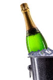 Ice bucket with champagne on white Royalty Free Stock Images