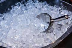 Ice in Ice Bucket with cool. Iced scoop preparation of ice in a bar for event party royalty free stock photography